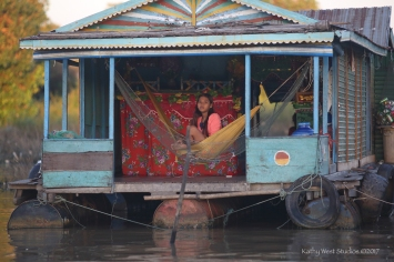 Morning in the floating village, Cambodia. Kathy West Studios©2017