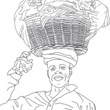 Line drawing of African chicken seller customs for UC Davis educational materials for avian influenza prevention campaign in Kenya. ©KathyWestStudios