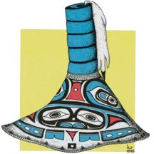 Aleut potlatch hat, mixed media. 1992 ©KathyWestStudios